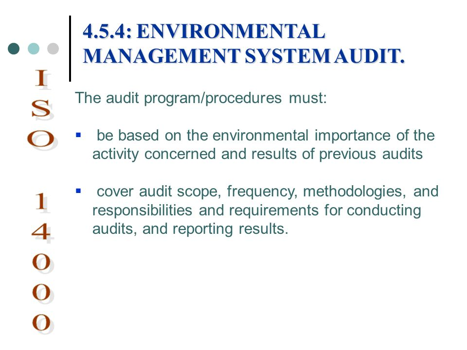 ISO 14000 4.5.4: ENVIRONMENTAL MANAGEMENT SYSTEM AUDIT.