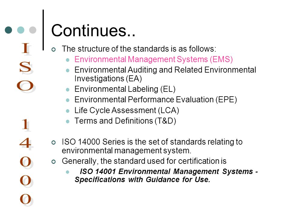 Continues.. ISO 14000 The structure of the standards is as follows: