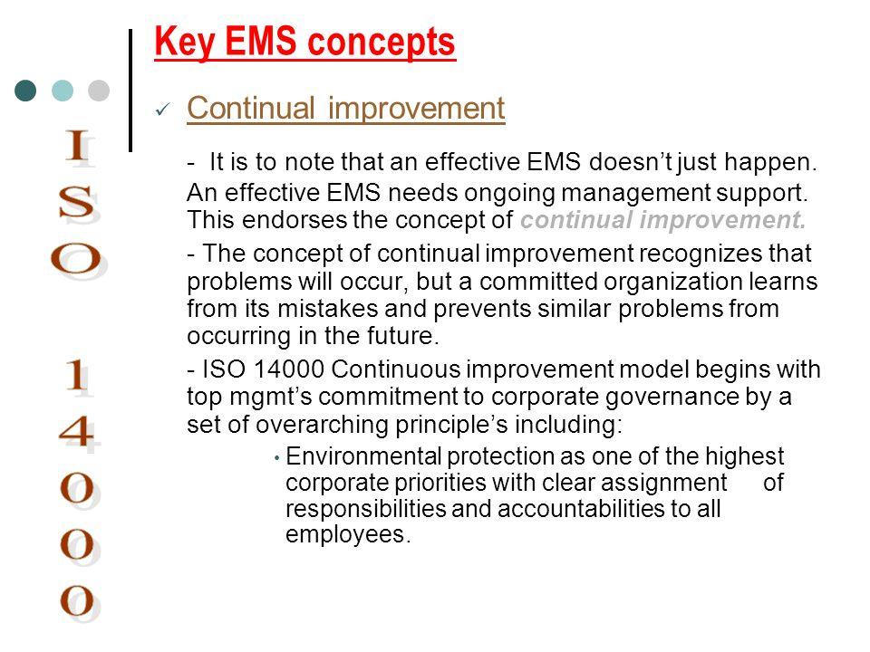 Key EMS concepts Continual improvement.