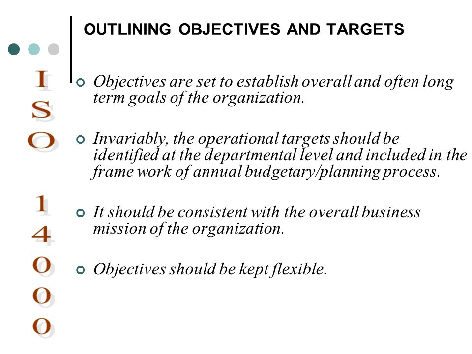 OUTLINING OBJECTIVES AND TARGETS