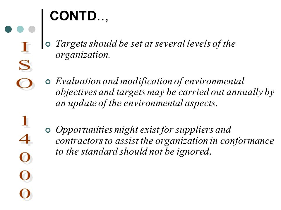 CONTD.., Targets should be set at several levels of the organization.