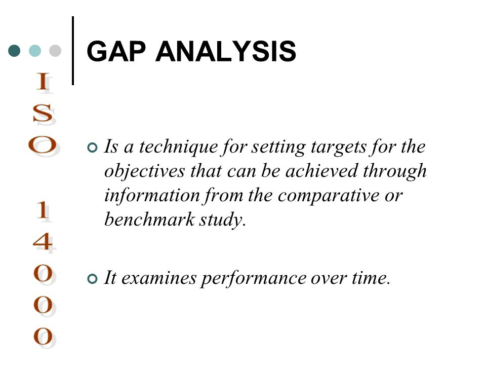 GAP ANALYSIS Is a technique for setting targets for the objectives that can be achieved through information from the comparative or benchmark study.