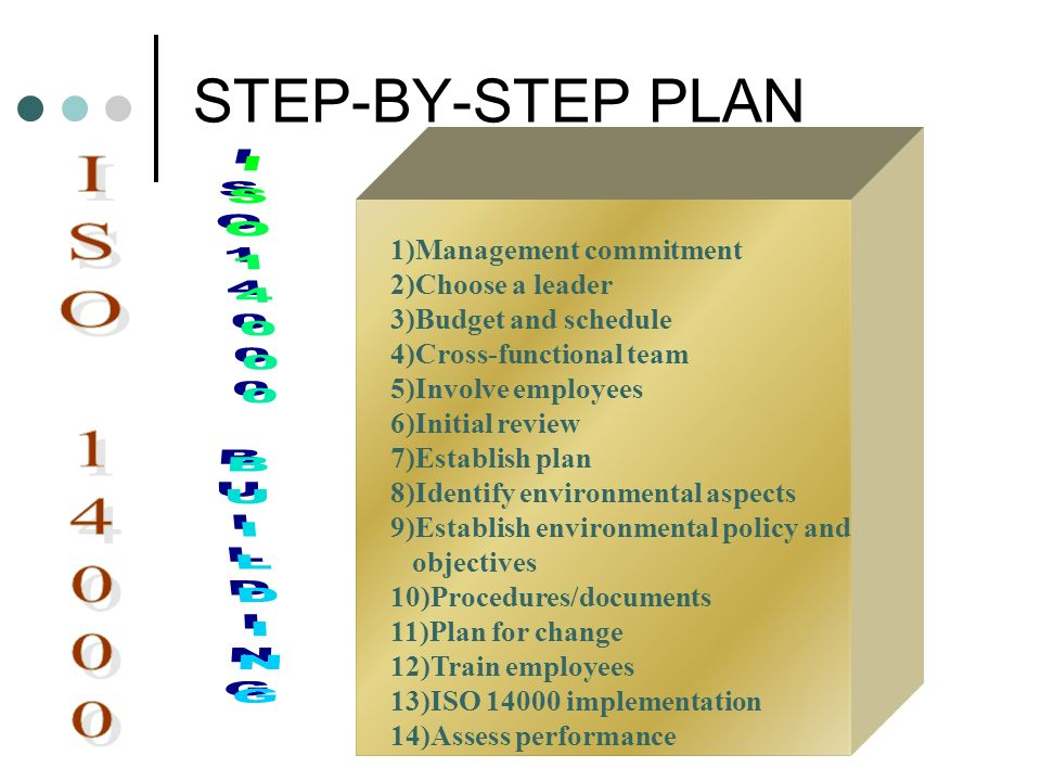 STEP-BY-STEP PLAN ISO 14000 ISO14000 BUILDING 1)Management commitment