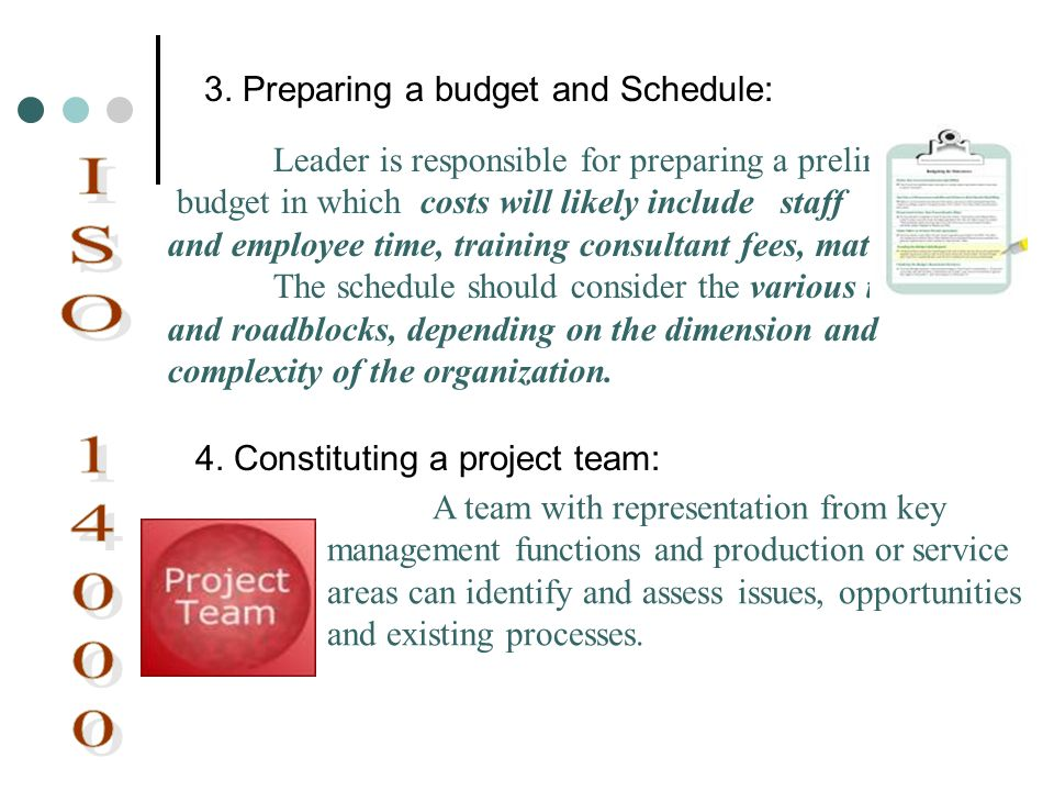 ISO 14000 3. Preparing a budget and Schedule: