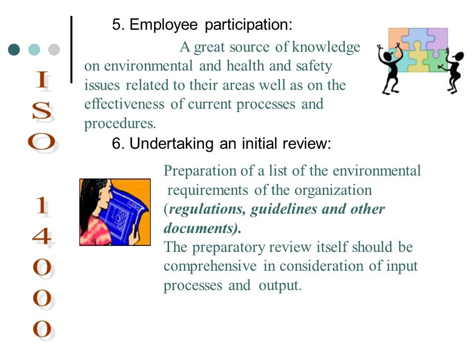 ISO 14000 5. Employee participation: