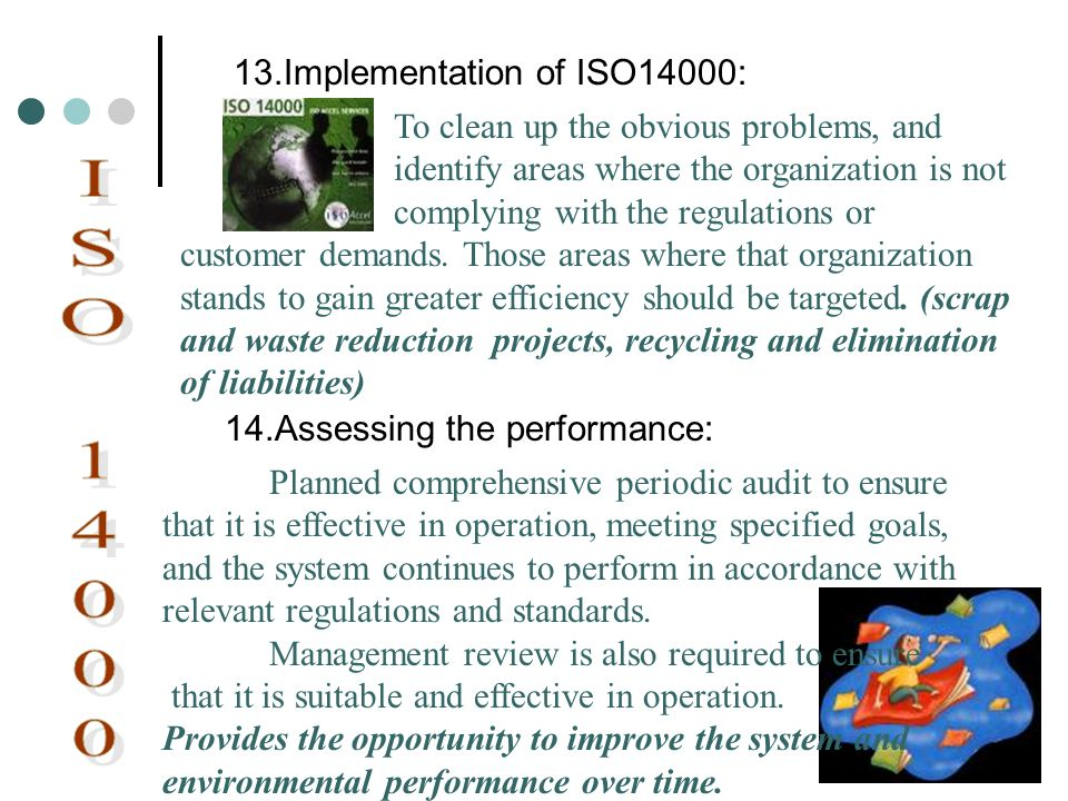 ISO 14000 13.Implementation of ISO14000: