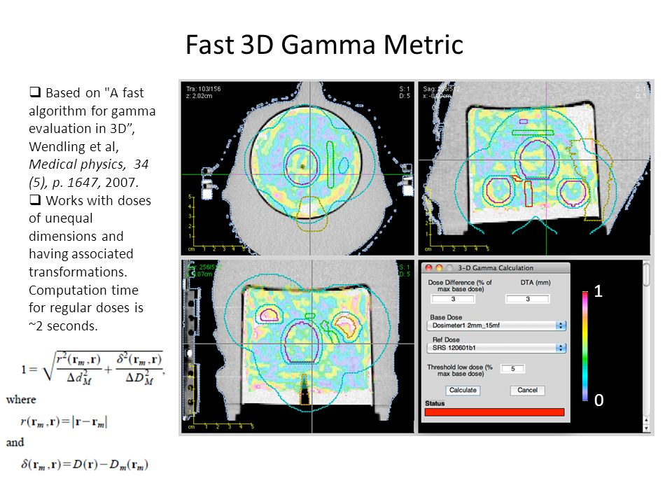 Fast 3D Gamma Metric Based on A fast algorithm for gamma evaluation in 3D , Wendling et al, Medical physics, 34 (5), p. 1647, 2007.