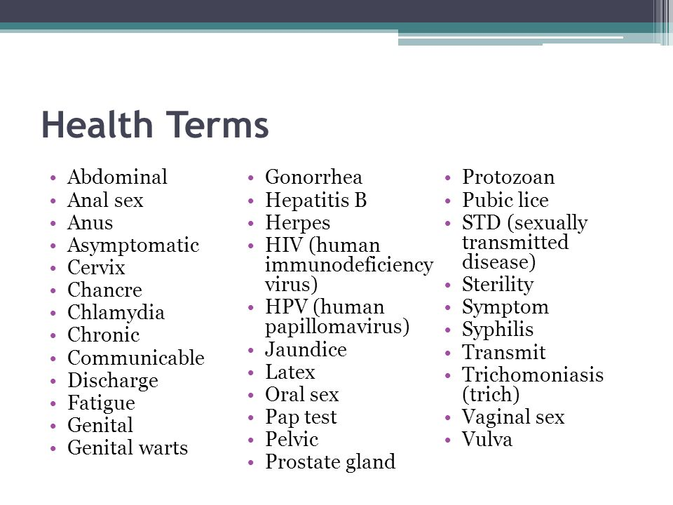 Health Terms Abdominal Gonorrhea Protozoan Anal sex Hepatitis B