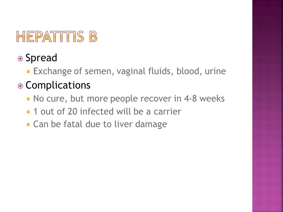 Hepatitis B Spread Complications