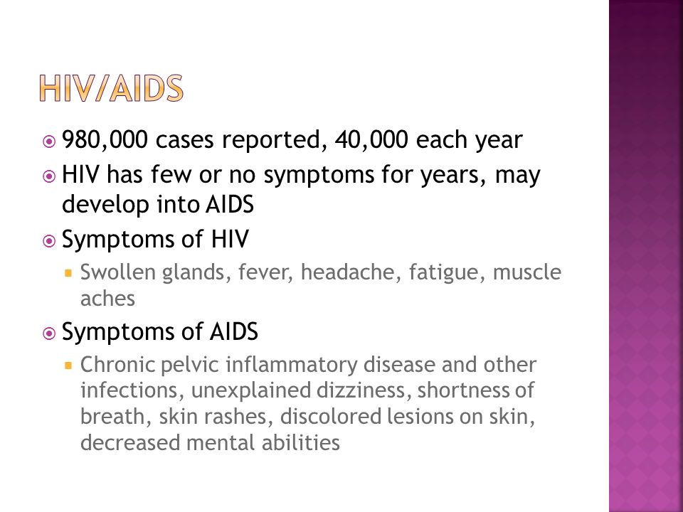 HIV/AIDS 980,000 cases reported, 40,000 each year