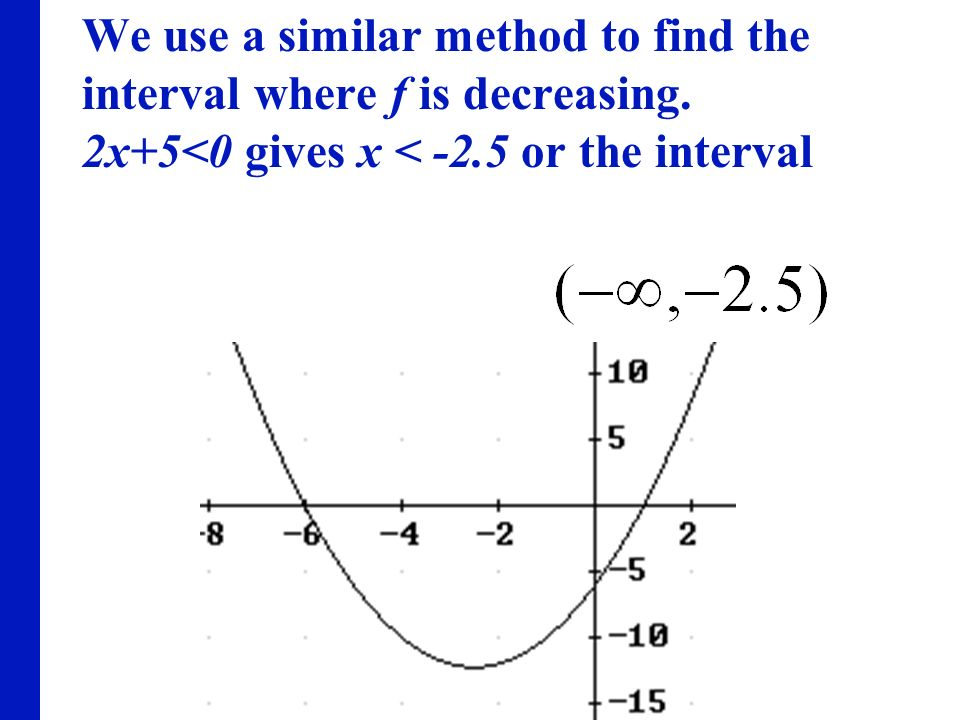 We use a similar method to find the interval where f is decreasing