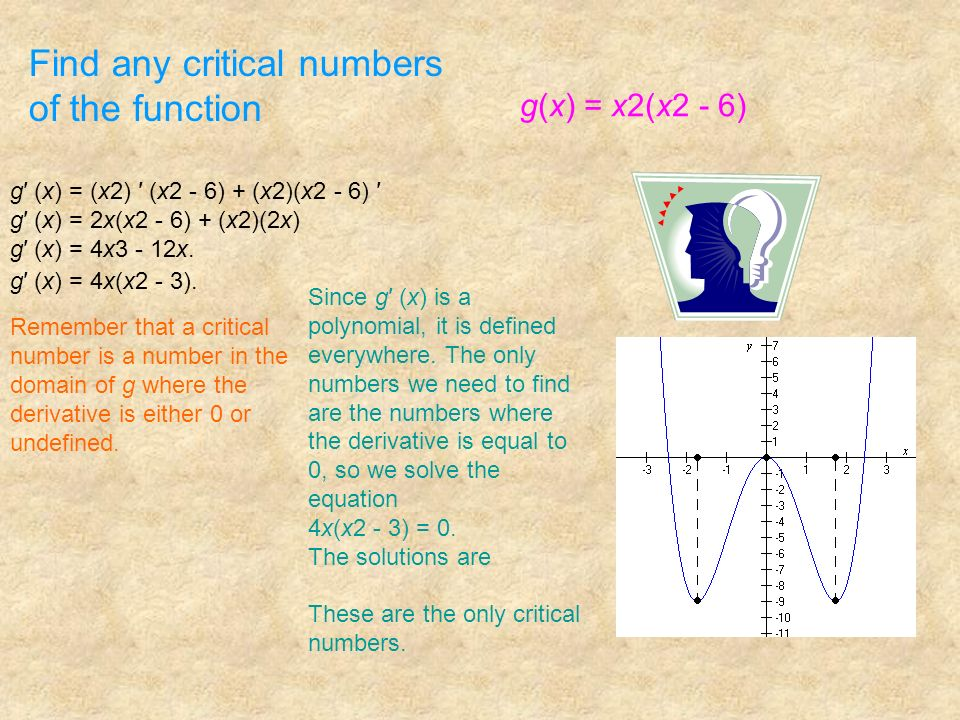 Find any critical numbers of the function