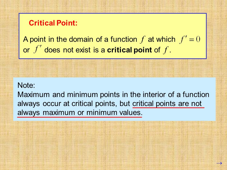 Critical Point: A point in the domain of a function f at which. or does not exist is a critical point of f .
