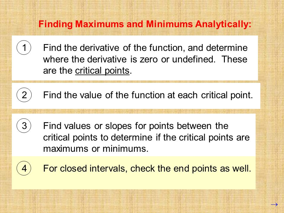 Finding Maximums and Minimums Analytically:
