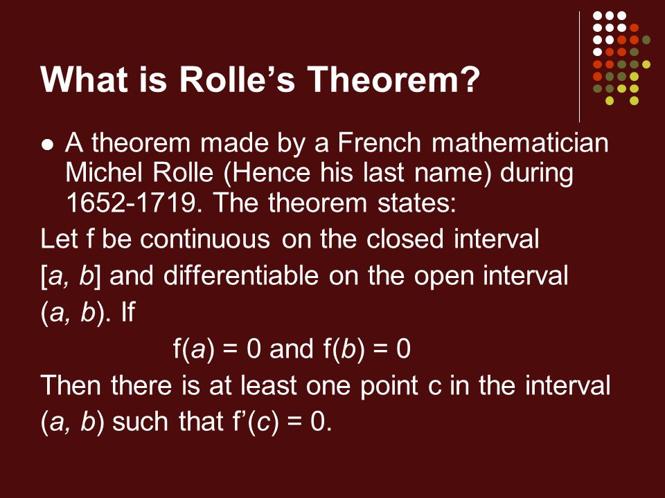 What is Rolle's Theorem