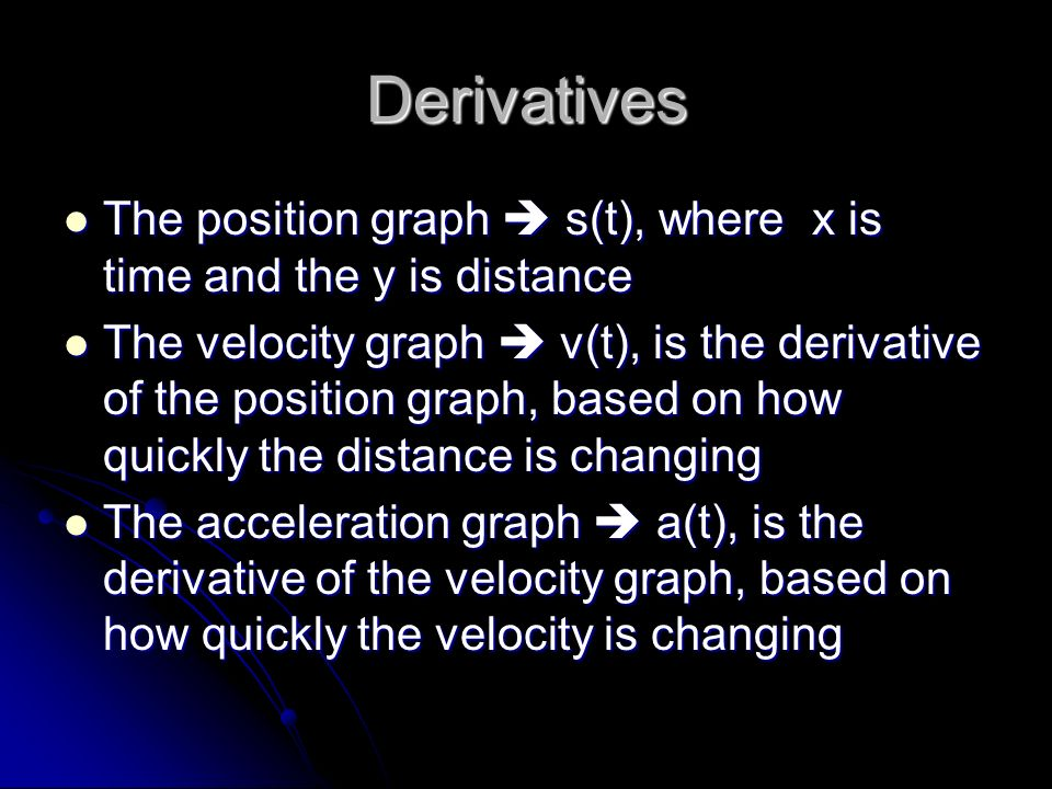 Derivatives The position graph  s(t), where x is time and the y is distance.