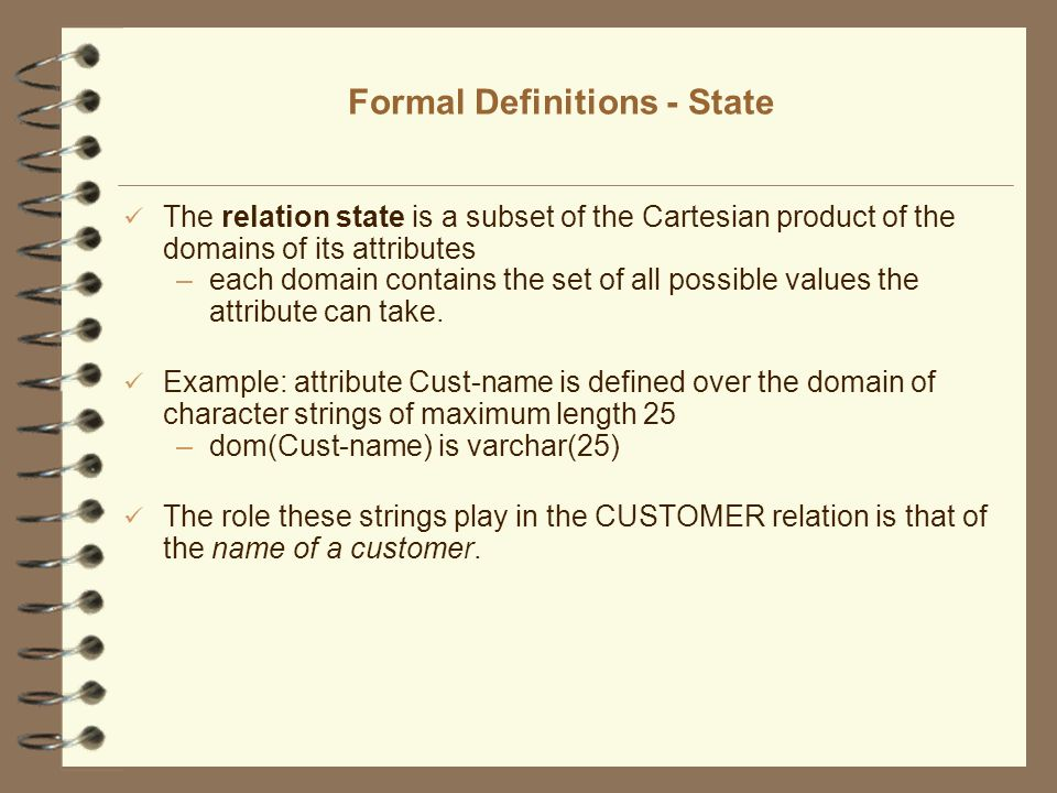 Formal Definitions - State