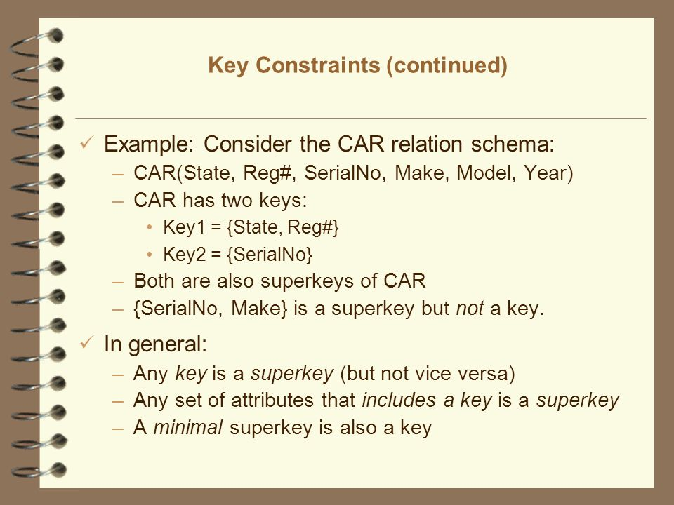 Key Constraints (continued)