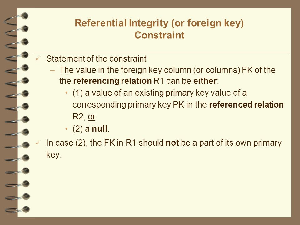 Referential Integrity (or foreign key) Constraint