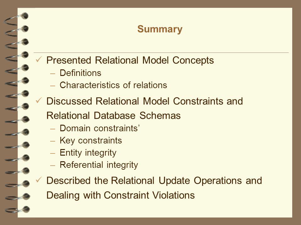 Presented Relational Model Concepts