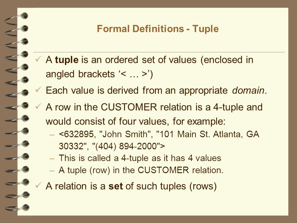 Formal Definitions - Tuple