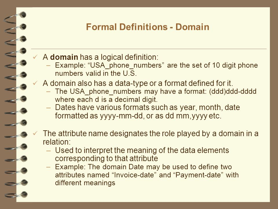 Formal Definitions - Domain