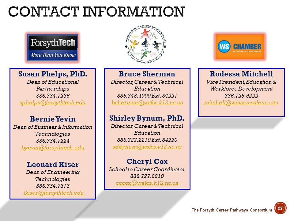 Contact Information Susan Phelps, PhD. Dean of Educational Partnerships. 336.734.7236. sphelps@forsythtech.edu.
