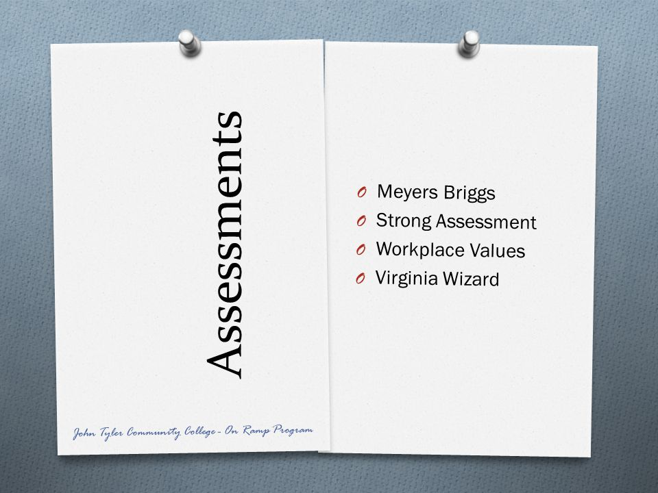 Assessments Meyers Briggs Strong Assessment Workplace Values