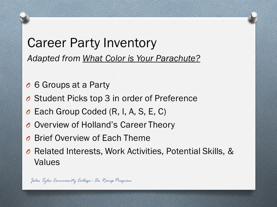 Career Party Inventory