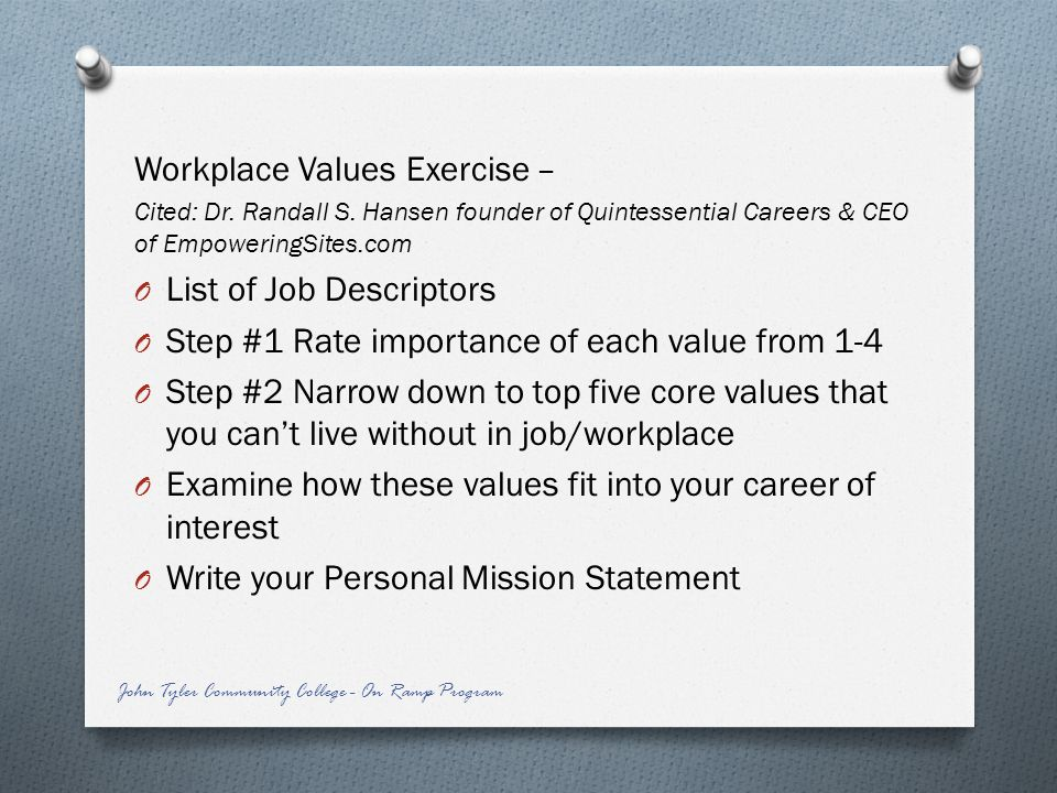 Workplace Values Exercise –