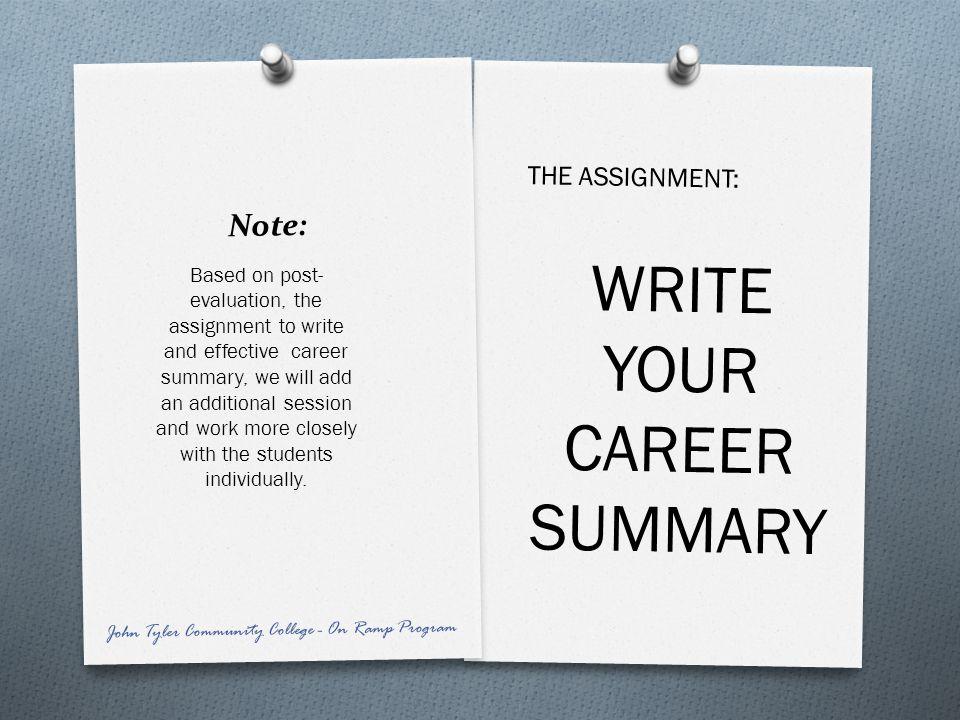 WRITE YOUR CAREER SUMMARY
