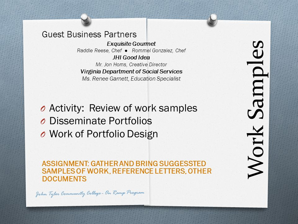 Work Samples Activity: Review of work samples Disseminate Portfolios