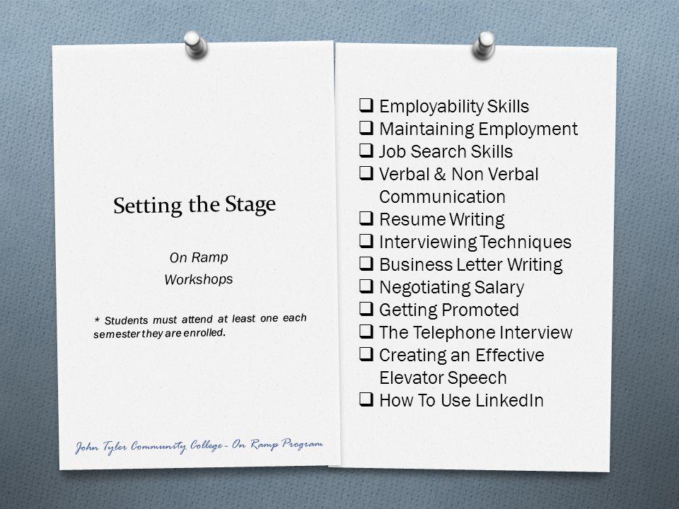 Setting the Stage Employability Skills Maintaining Employment