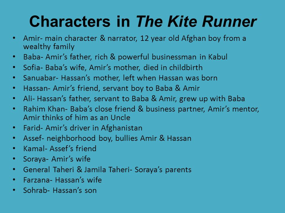 Kite runner character sketch