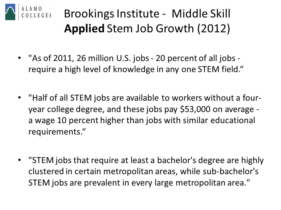 Brookings Institute - Middle Skill Applied Stem Job Growth (2012)