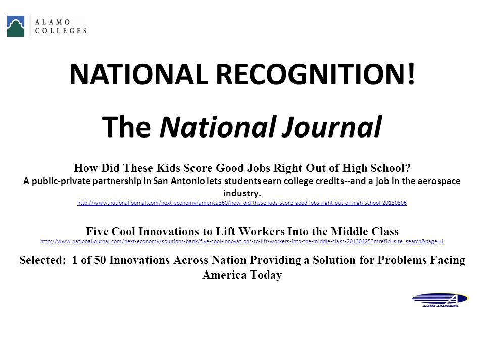 NATIONAL RECOGNITION! The National Journal