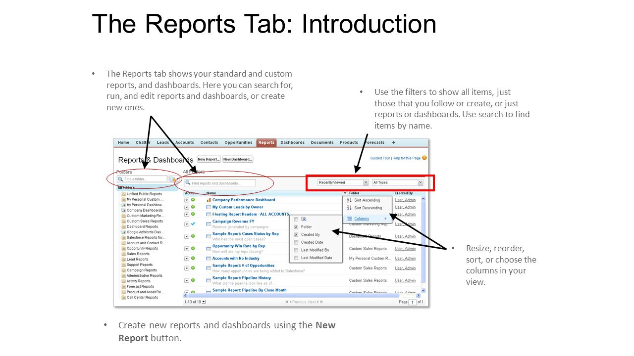 how to change colums in new report salesforce