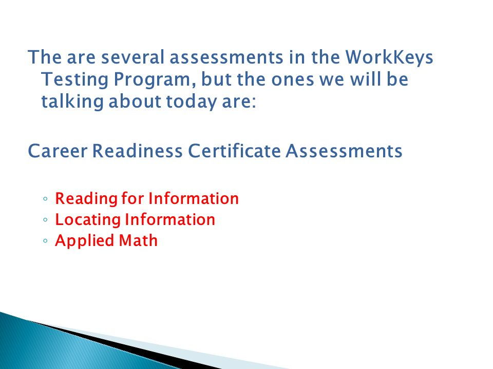 Career Readiness Certificate Assessments