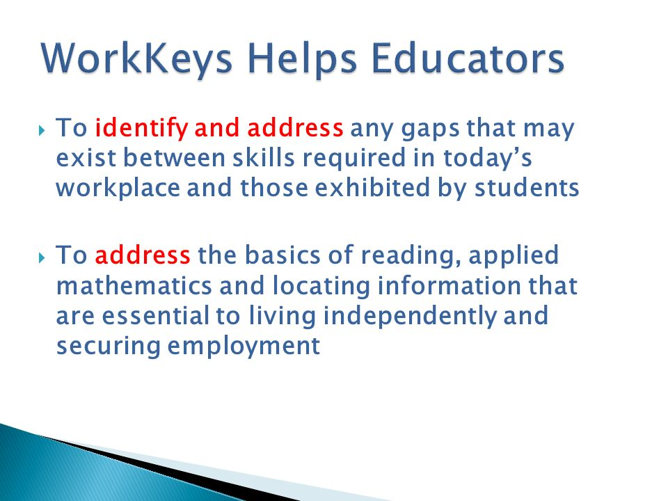 WorkKeys Helps Educators