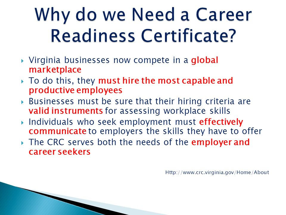Why do we Need a Career Readiness Certificate