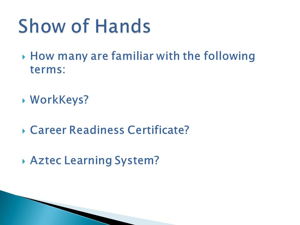 Show of Hands How many are familiar with the following terms: