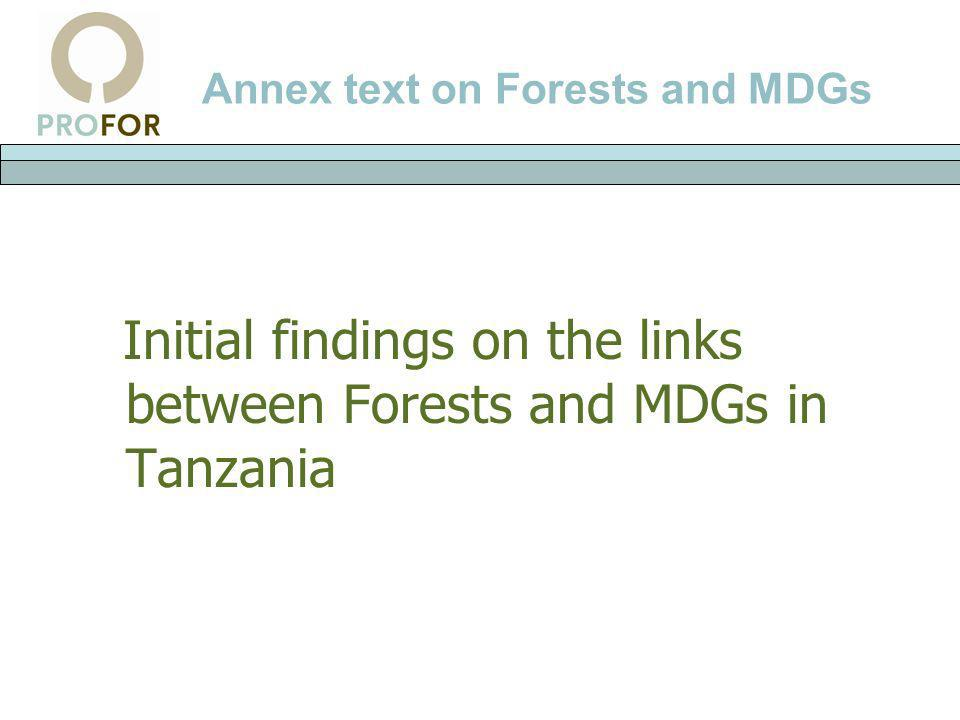 Annex text on Forests and MDGs