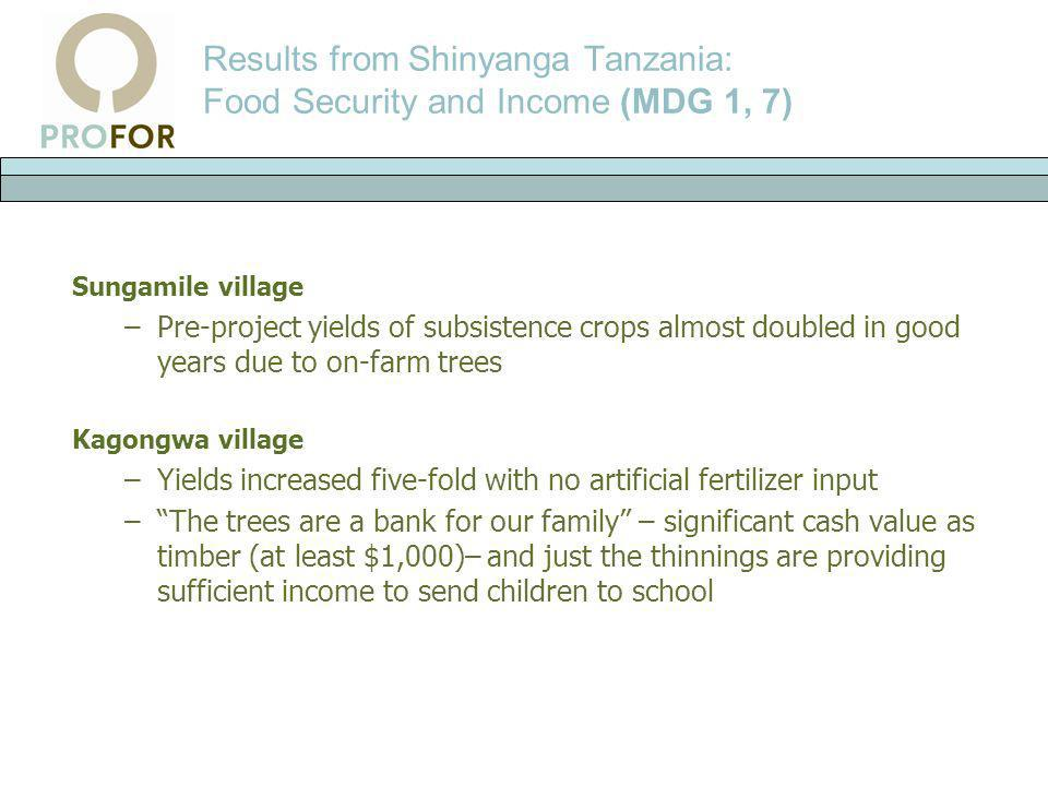 Results from Shinyanga Tanzania: Food Security and Income (MDG 1, 7)
