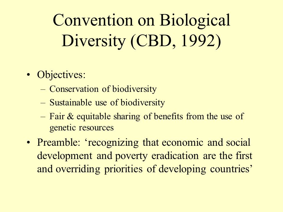 Convention on Biological Diversity (CBD, 1992)
