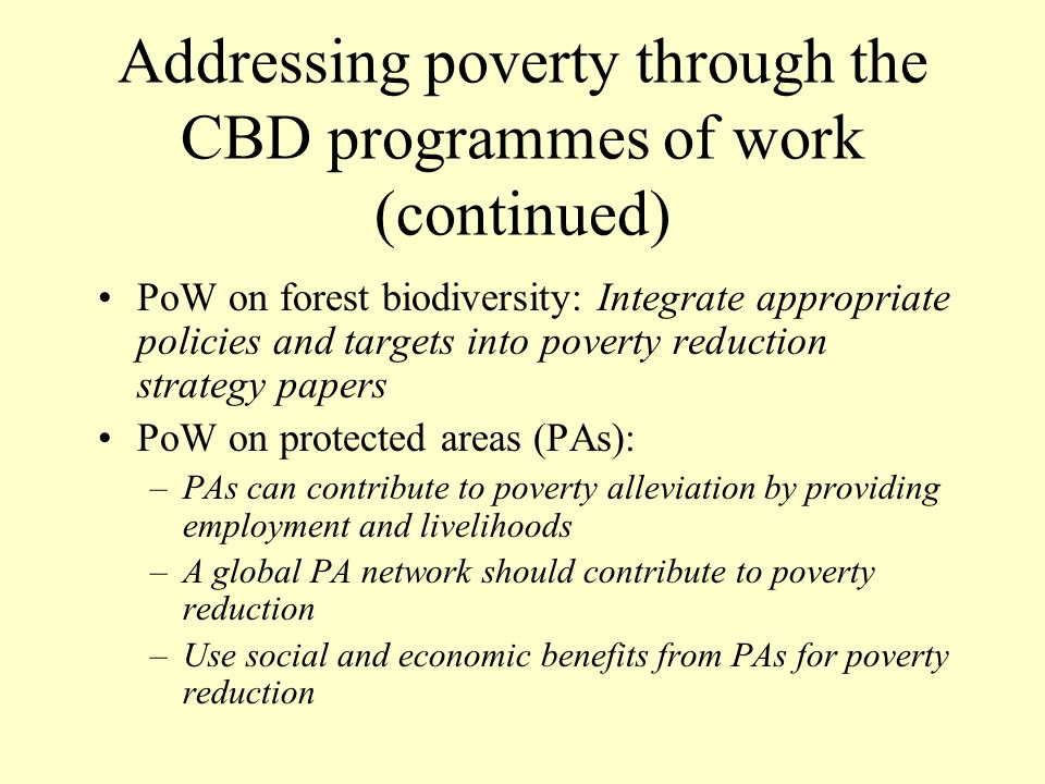 Addressing poverty through the CBD programmes of work (continued)