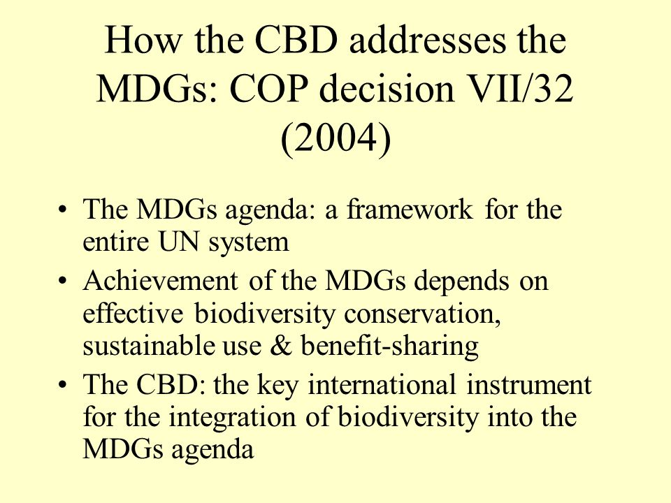 How the CBD addresses the MDGs: COP decision VII/32 (2004)