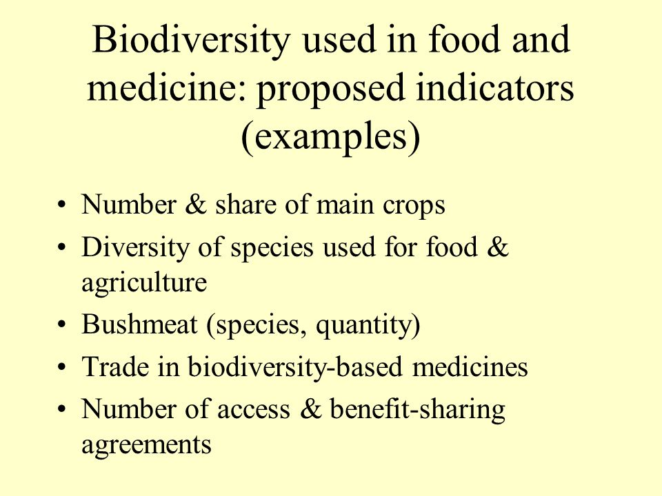 Biodiversity used in food and medicine: proposed indicators (examples)