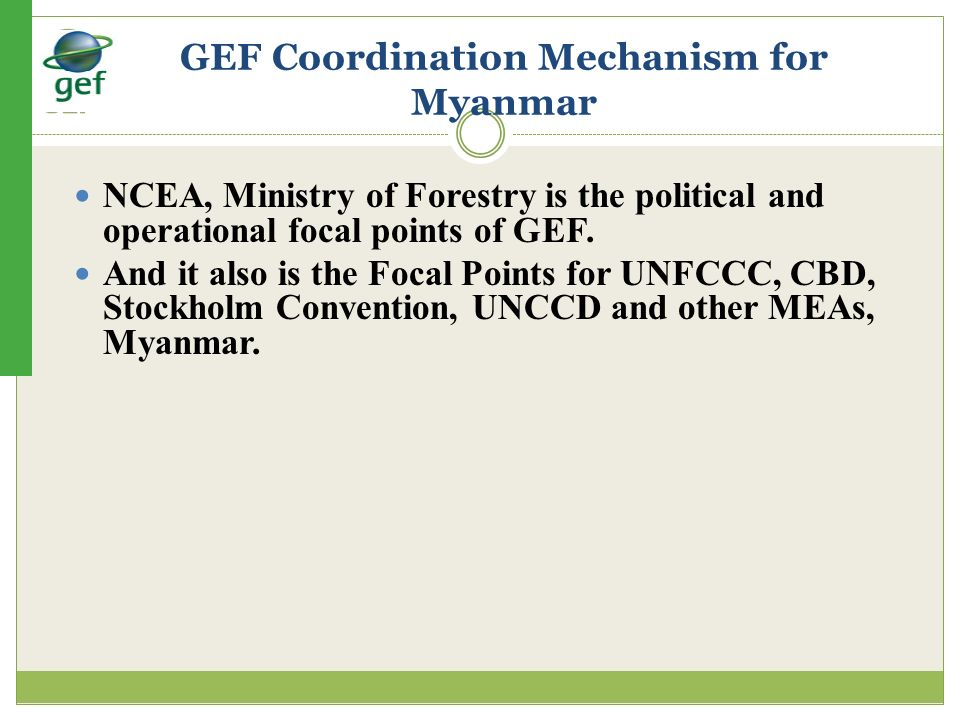 GEF Coordination Mechanism for Myanmar