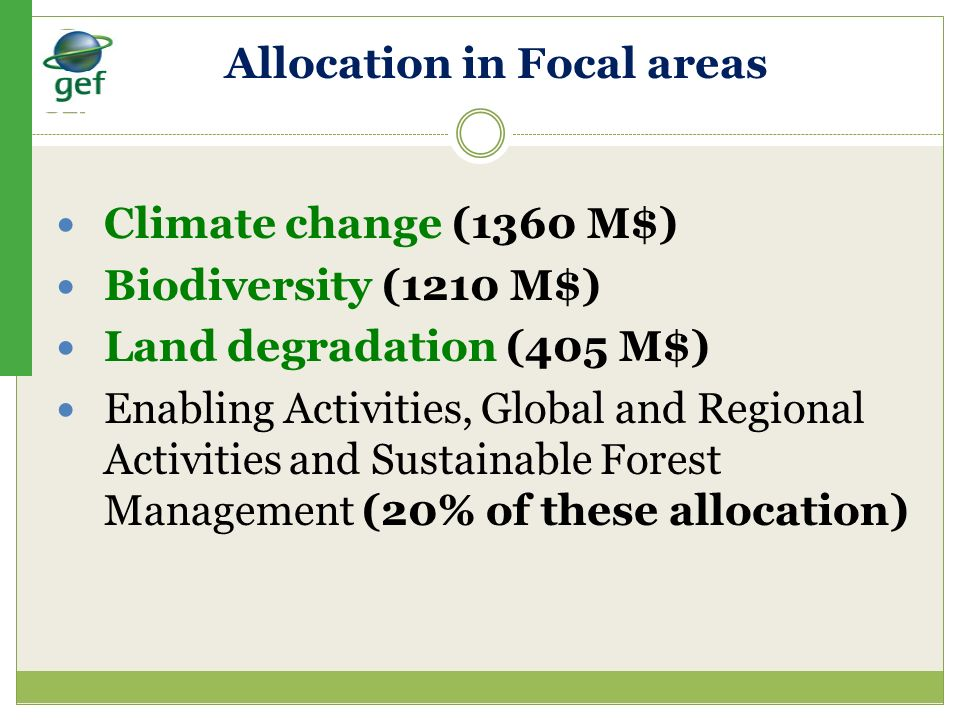 Allocation in Focal areas