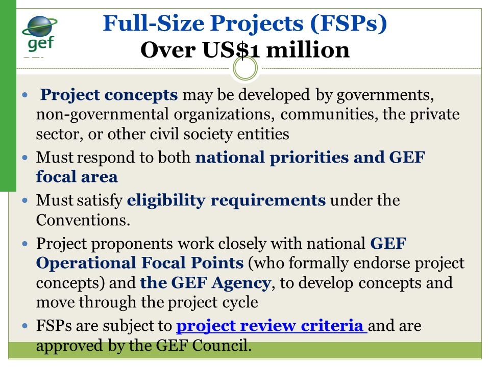 Full-Size Projects (FSPs) Over US$1 million